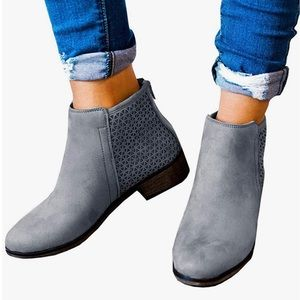 Gray Bootie suede like soft material